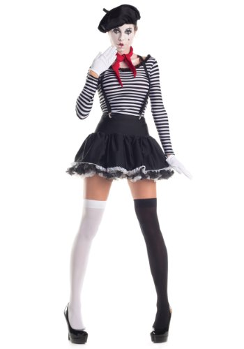 Party King Women's Mesmerizing Mime 7 Piece Costume Set with Hat, Black/White, Large for $<!--$44.99-->