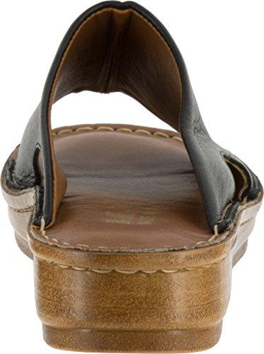 Bella Vita Mae-italien Kvinnor Ww Öppen Tå Läder Solbränna Diabilder Sandal Svart Läder