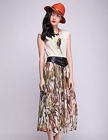 SUMMER HU & HU color Print PU Leather Belt falda larga (Mostaza ...