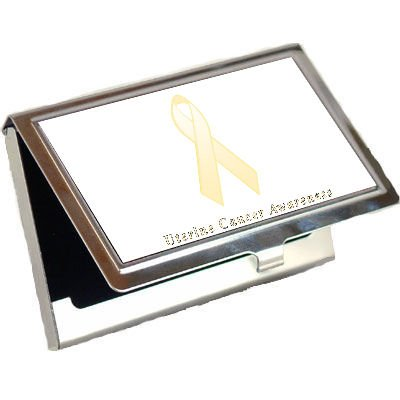 Uterine Cancer Awareness Ribbon Business Card Holder