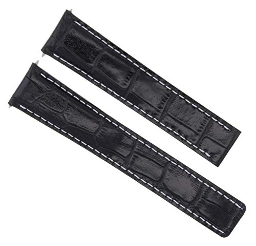 - 20MM New Leather Watch Band Strap Deployment Clasp FIT Cartier Tank Black WS #1C