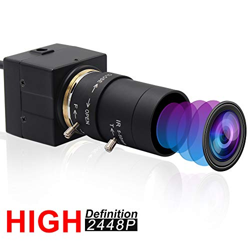 5-50mm Varifocal Lens USB Camera with 8 Megapixel 3264X2448 High Definition Sony IMX179 Webcam for Android Linux Windows Industrial Video