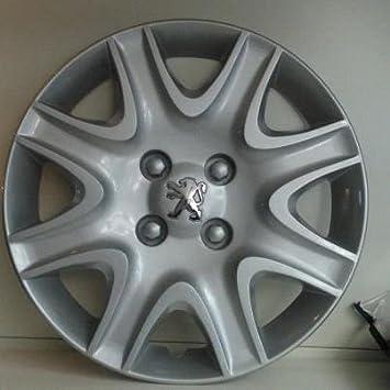 Juego de Tapacubos 4 Tapacubos Diseño Peugeot 308 r 15 () Logo Cromado: Amazon.es: Coche y moto