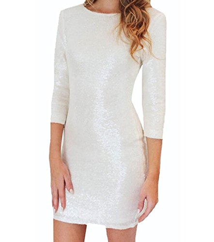 Doramode Women's Scoop-Neck Solid Three-Quarter-Sleeve Short Fitted Dress,