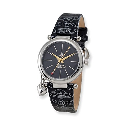 Ladies Vivienne Westwood Orb Black Logo Strap Watch
