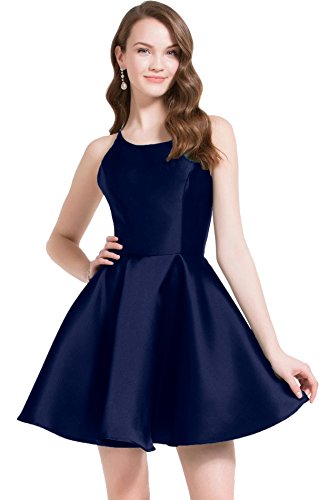 Dresses Beauty 2018 Pockets Homecoming Navy Blue Bridal Prom Short Womens Evening with Satin xpn1Iqzpwr