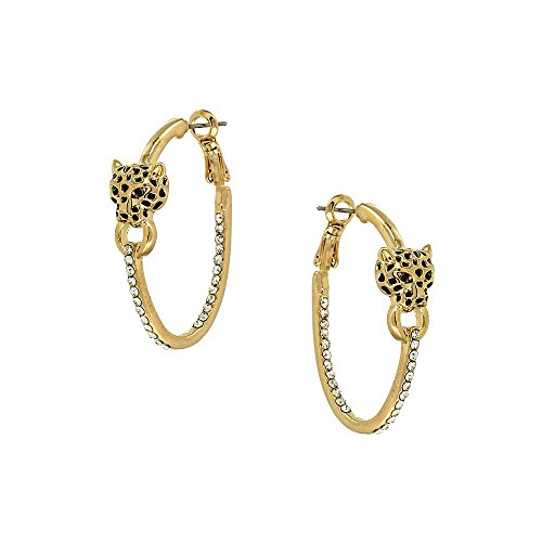 Liavy's Leopard Fashionable Earrings - Hoop - Sparkling Crystal - Gold Plated