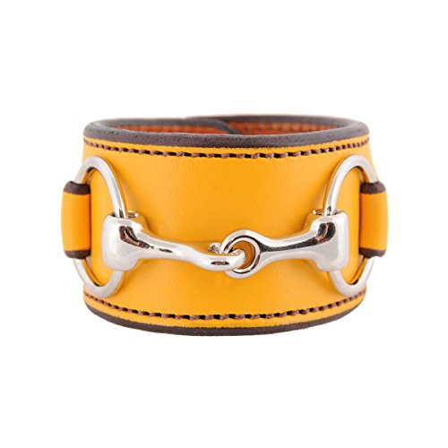 [HW Equestrian Collection Equestrian Stainless Steel Horse Snaffle Bit Yellow Leather Cuff Bracelet] (Equus Horse Costume)