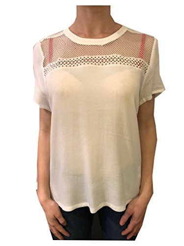 Aaiko vere Vis 592 Les Blancs T-Shirt in Weiß mit Netz Am Kragen (L)