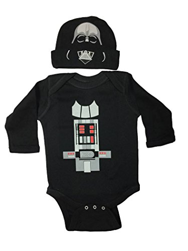 18 Month Star Wars Costume (Star Wars Baby Darth Vader Bodysuit Long Sleeve Set With a Hat (18M))