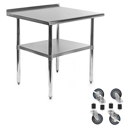 Gridmann NSF Stainless Steel Commercial Kitchen Prep & Work Table w/Backsplash Plus 4 Casters (Wheels) - 30 in. x 24 in.