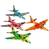 Assorted Color Flame Theme Styrofoam Jet Plane Gliders (12)