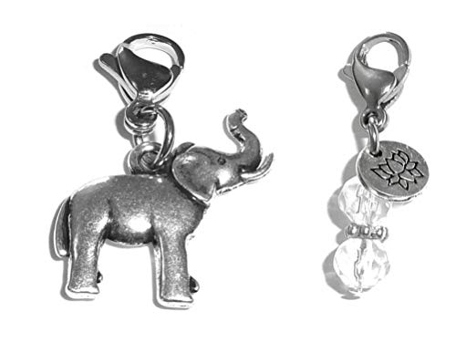 Hidden Hollow Beads Clip On Charm, Bag, Purse, Handbag, Message, Keychain, Zipper Pull, Bracelets, Necklaces, Jewelry (Elephant)