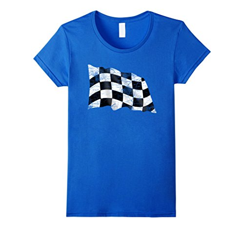 Checkered Flag Shirts (Womens Distressed Retro Vintage Checkered Flag Racing Tshirt Large Royal Blue)