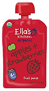 Ella's Kitchen Organic 6+ Months Baby Food, Apples and Strawberries, 3.5 oz. Pouch (Pack of 6)