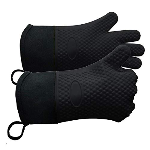 Corgy 1 Pcs Silicone Oven Mitts, Cooking, Grilling, BBQ Non-Slip Heat Resistant Silicone Gloves,Waterproof Insulated Kitchen Cooking Gloves (Black)