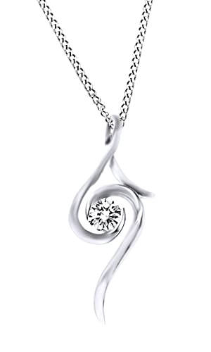 White Cubic Zirconia Affordable Pendant With Necklace In Silver Over Alloy