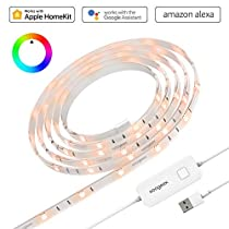 Koogeek Smart WiFi LED Light Strip(6.6ft / 2m), Dimmable, Color Changing, Remote Control Support Siri, Timer, Compatible with Alexa, Alexa Echo Apple HomeKit On 2.4GHz Network - No Hub Required