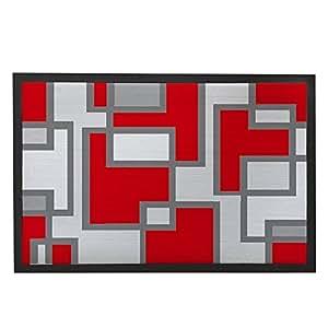 Red and Grey Home Mat Front Door Welcome Mat Rubber Doormat Indoor Outdoor 80x50cm Funny Geometric Doormats for Entrance Way Living Room Bedroom Bathroom