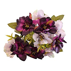 yanQxIzbiu Artificial Flowers,Artificial Fake Delphinium Violet Hyacinth Flower for Wedding Party Home Office Garden Decoration,1 Branch with 10 Heads - Purple 54