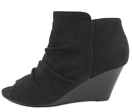 Ankle Black Suede Ruched Women's Peep Bootie Wedge City Classified Toe Yzzq8