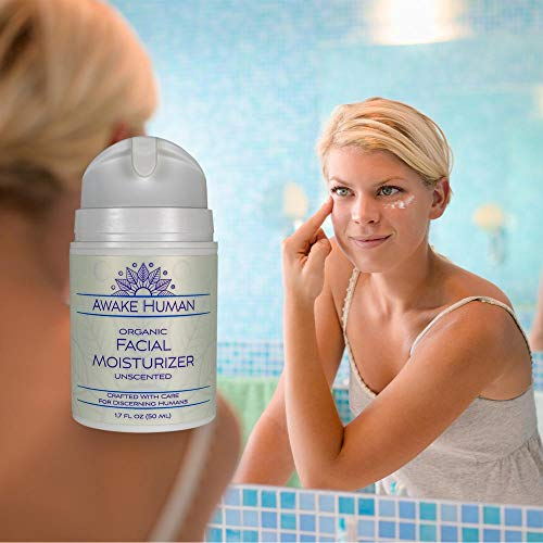 416ePPQHA2L - Organic Face Moisturizer, Unscented Natural Face Cream for Every Skin Type, Mostly Aloe, Jojoba, Green Tea, Shea Butter, Sweet Almond, 1.7 Ounces