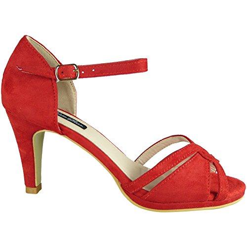 Femmes Haut Talon Peeptoe Chaussures Partie Dames Demoiselle d'honneur de Mariage Mariée Sandales Taille 36-41 Rouge 2Yravutff9