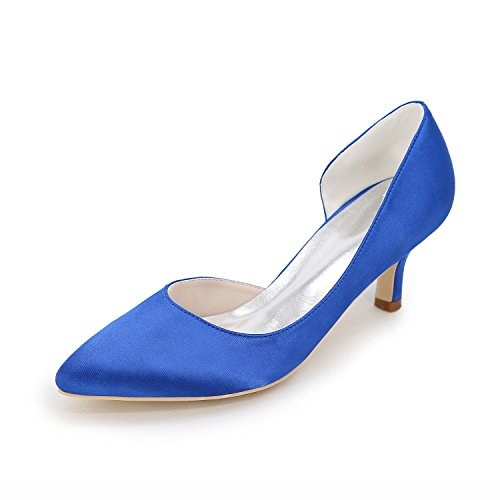 L@YC Tacones altos De Las Mujeres Primavera / Verano / CaíDa abierta De Raso De La Boda De SatéN / Fiesta Y Noche / Vestido Blue