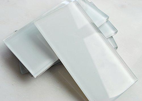 3x6 Powder White Shiny Subway Glass Tile Backsplash Wall