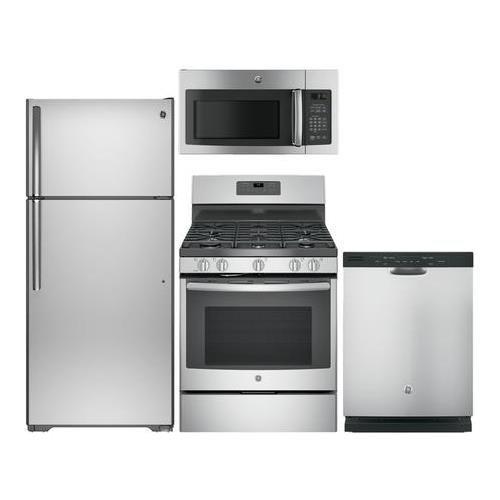 "GE Stainless Steel Kitchen Package GTS16GSHSS 28""Top Freezer"