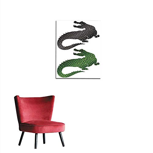 longbuyer Wallpaper Two Silhouettes of Crocodiles Texture Green and Black Leather Mural 16