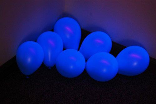 DirectGlow Brand Neon Blue 5 inch UV Blacklight Reactive Latex Decorator Balloons (10)