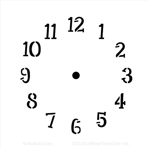 Winter Time Clock Stencil by StudioR12 | Simple Clock Face Art - Small 6 x 6-inch Reusable Mylar Template | Painting, Chalk, Mixed Media | Use for Journaling, DIY Home Decor - STCL532 -