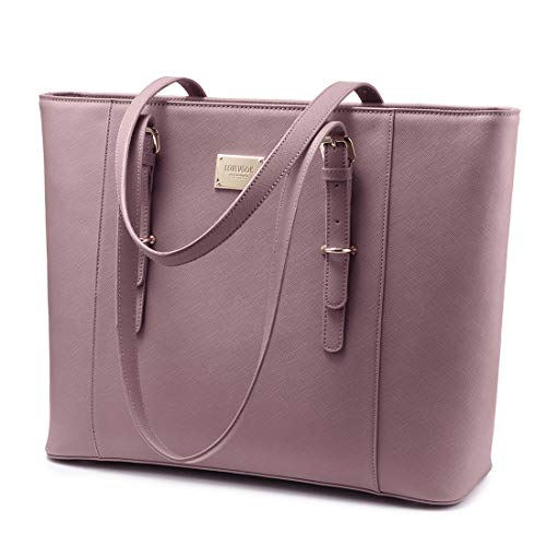 Laptop Bag for Women, Large Computer Bags for Women, Laptop Purse Fit Up to 15.6 Inch, Laptop Briefcase for Women with Padded Compartment, Professional Laptop Tote Work Bags, ()