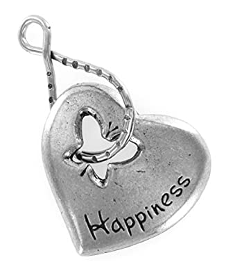Happiness Heart w/ Butterfly Blessing Ring Keychain