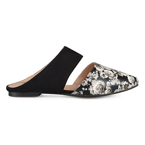 Brinley Co. Womens Faux Suede Faux Leather Slip-on Mules Floral, 10 Regular US
