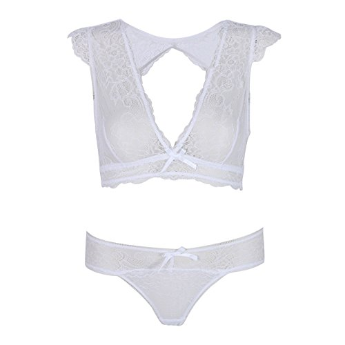526fb81f5f Image Unavailable. Image not available for. Color  White Women Lady Full  Lace Corset Bralette Bra G-string Thong Sets Underwear Lingerie 34