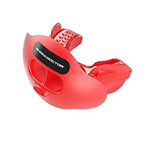 Shock Doctor 3300 Max Airflow Football Mouth Guard with Tether, Trans Red, Youth