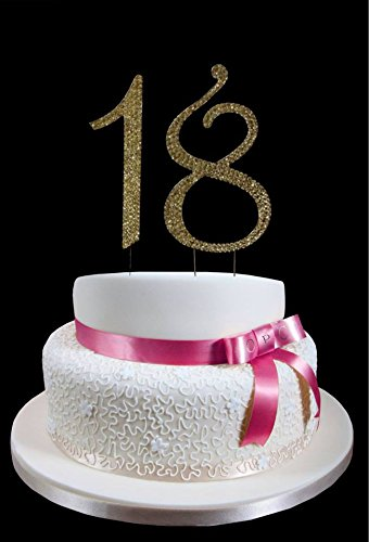 Large Gold 18th Birthday Wedding Anniversary Number Cake Topper With Sparkling Rhinestone Crystals