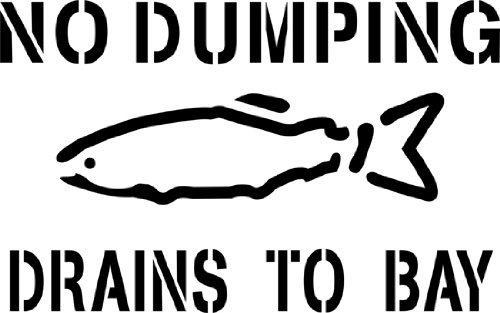 No Dumping Drains to Bay, Storm Drain Stencil - Small - 2 inch Letters - 10 mil Medium-Duty