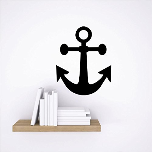 """Price comparison product image Design with Vinyl Zzz 1054 Anchor Pirate Ship Boat Home Decor Bedroom Bathroom Living Room Picture Art Mural Peel & Stick Wall Decal Sticker,  12"""" x 18"""",  Black"""