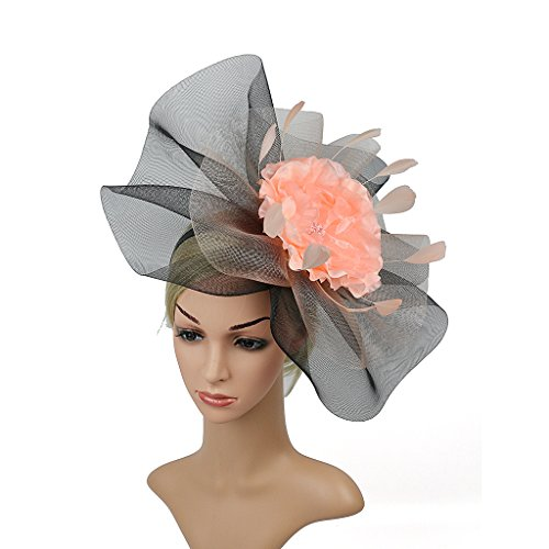 LATIMOON Veil Mesh Flower Feather Fascinators Wedding Party Hats Hair Clip and Head Hoop for Women Art Deco (Black and (Peach Lattice)