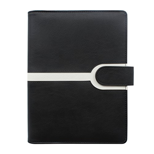 CYOS A5 PU Leather Business Notebook,Black and White color,Writing Notebook Diary with Card Holder & Pen Loop & Magnetic & Refillable Loose Leaf Journal. (black) by CYOS