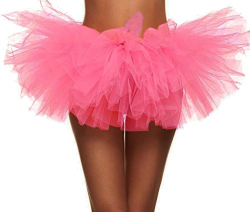 Simplicity Women's Classic 5K, 10K Run 5 Layered Tulle Tutu Skirt, Hot Pink