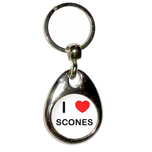 Drop Scones (I Love Heart Scones - Chrome Tear Drop Shaped Double Sided Key Ring)