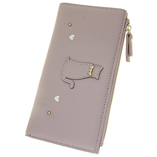 - Faux Leather Wallets Women's Large Capacity Long ID Holder Organizer Ladies Clutch Credit Card Case Protector Synthetic Zipper Smartphone Bag