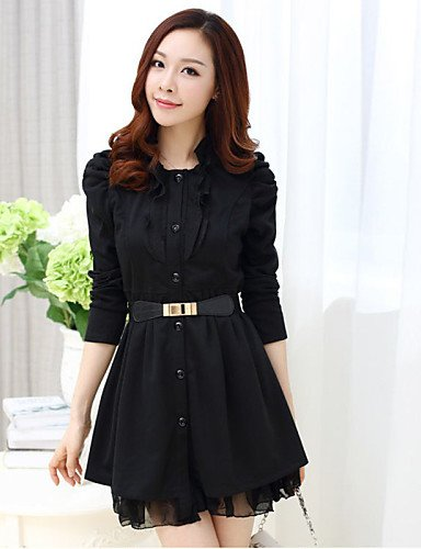 PU&PU Robe Aux femmes Noir Simple,Couleur Pleine Col Arrondi Au dessus du genou Coton , black-3xl , black-3xl