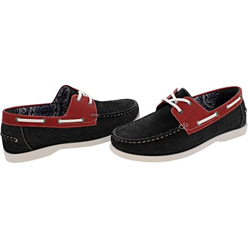 reverse Mens 2 Eye Canvas Boat Shoes - Black/Red - Black/Red 6D9Lo4yIvX