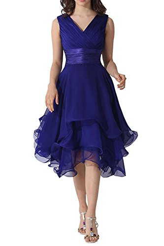 Belle Lady V-Neck Chiffon Mother Of The Bride Dress Bridesmaid Prom Party Dress Royal Blue US6