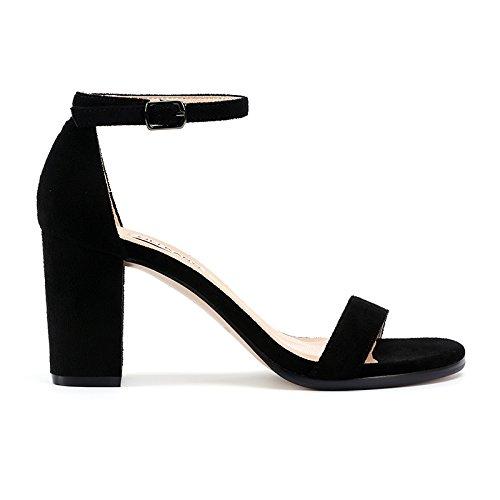 L'Été SHOESHAOGE Nues Chaussures Mot Les Sandales Rouge De Talon Noir Un Et Avec Femmes Couleur Avec Talons unie Boucle En drgr4wq